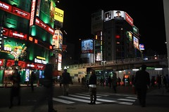 surrounded by ghosts (uzaigaijin) Tags: street city people woman man japan night tokyo blurry waiting shinjuku femme citylights   ghosts nuit rues japon personnes  ville flou homme      attendre    fantomes