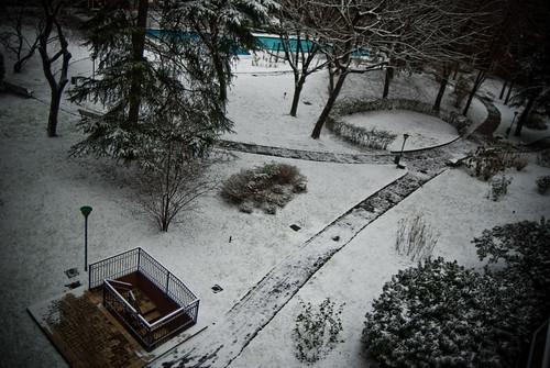 la piscina nel cortile (dalla finestra)