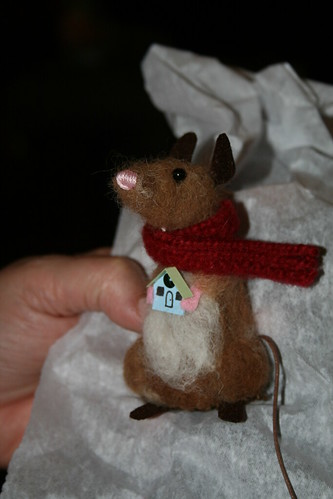 Christmas mouse with a Putz house