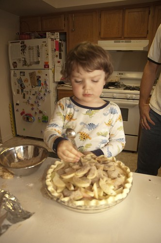 dylan puts cinnamon and sugar on the apple pie