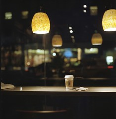 Lights and Coffee (Inside_man) Tags: stilllife newyork reflection 120 6x6 tlr film coffee colors rolleiflex mediumformat manhattan citylife starbucks cappuccino lightsandcoffee portravc