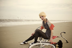 nineteen sixty-six (rockie nolan) Tags: ocean beach fashion bike digital canon vintage photography 50mm 60s dress nolan style tights retro 5d 50s 18 cruiser rockie shwinn
