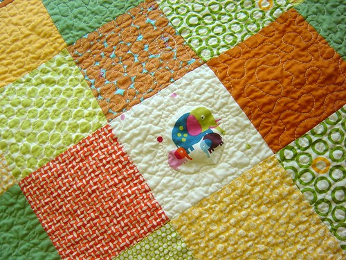 Dots & Critters Baby Quilt close up