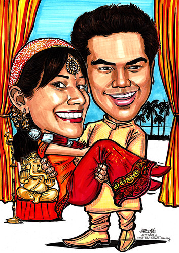 Traditional Indian wedding ouple caricatures