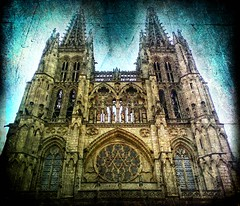 cathedral in blue (jesuscm) Tags: blue espaa church azul architecture spain arquitectura cathedral  catedral iglesia textures catholicism romanesque burgos texturas romanico catolicismo castillaylen memoriesbook jesuscm artistictreasurechest magicunicornverybest