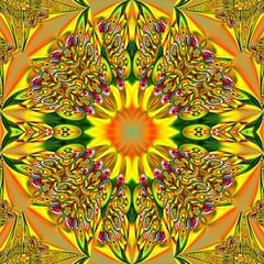Yellow Mandala (with Tutorial) (Ate My Crayons) Tags: orange abstract green art geometric colors yellow digital abstractart digitalart gimp kaleidoscope mandala symmetry computerart fractal amc thegimp multicolor tutorial kaleidoscopes catchycolorsyellow fractalart kaleidoscopesonly gimptutorial artgimp