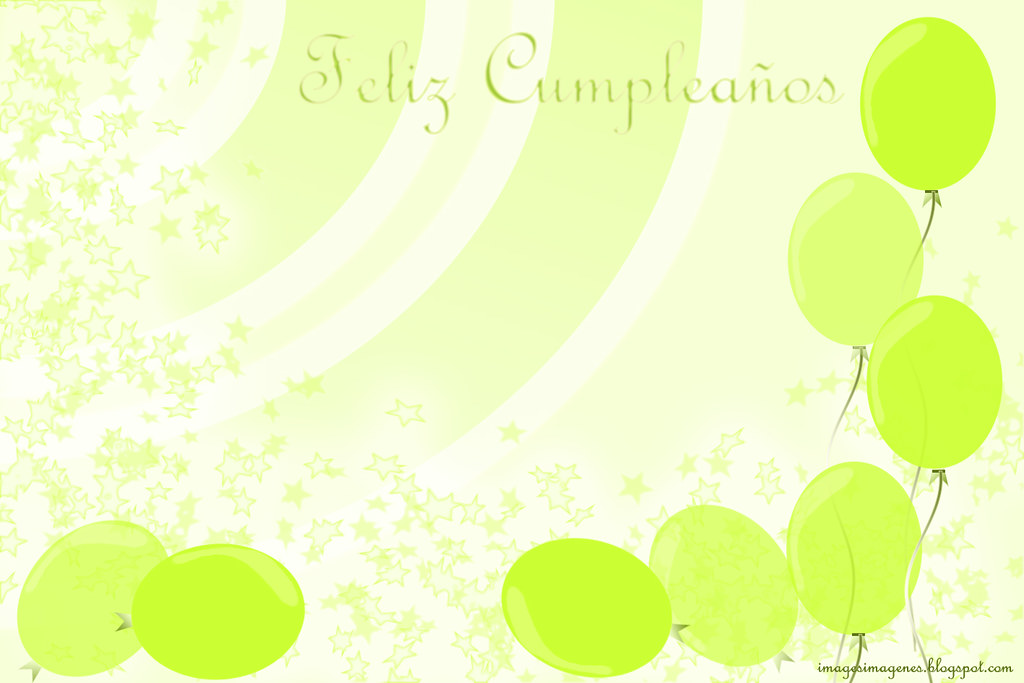 postal de cumpleaños de color verde con globos, green birthday card