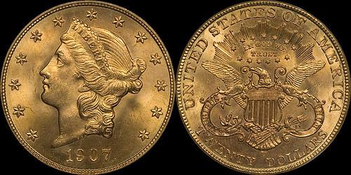 1907-D $20.00 NGC MS66