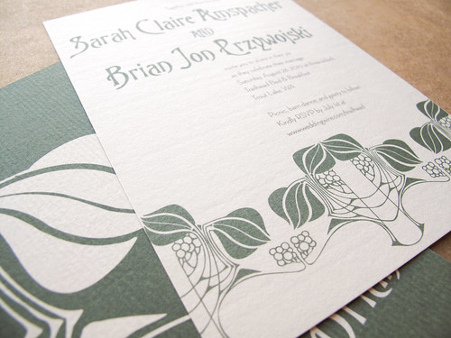 Sarah Brian Art Nouveau Inspired Wedding Invitations