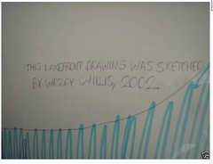 Wesley Willis Ebay Auction march 2010: 2002 Lakeshore Skyline for $510: Signature Detail (danxoneil) Tags: chicago art lakeshore wesley willis wesleywillis