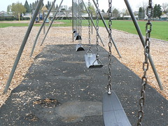 SWINGS! (LexieIsPrettyAwesome) Tags: school field playground monkey bars play swings structure swing chips bark ladybug swingset elementary
