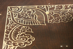 Mendhi patterns on the bed (phidauex) Tags: bed canoneos20d router henna cnc mendhi cncrouter hybridcnc