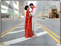 True Love Trumps NYC Traffic (Ryan Brenizer) Tags: nyc newyorkcity wedding love groom bride nikon manhattan espace d3 indianwedding 85mmf14 bokehpanorama brenizermethod