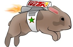 Flying Pizza Rabbit (unhh) Tags: cloud rabbit bunny pizza delivery vector inkscape silverlining rabbittrail