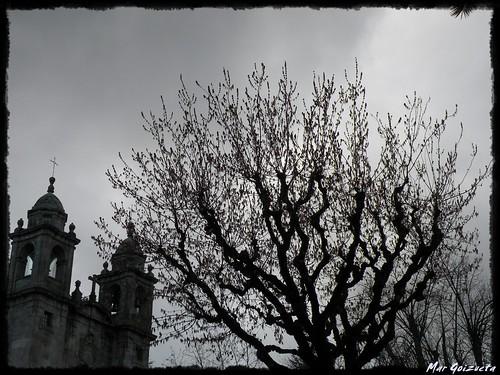Santiago pintada en blanco y negro