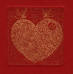 сердечко золото-красное 001 (tim.spb) Tags: original etching heart postcard small valentine ornament plates proverbs desigh открытки графика малые aquafortis формы офорт печатные