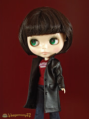 Blythe in black leather coat - open