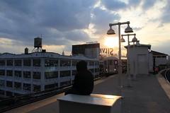 Waiting on a Flushing-Bound Train (Roblawol) Tags: nyc newyorkcity sunset ny newyork subway queens mta lic solitary bigapple longislandcity queensboroplaza 7train