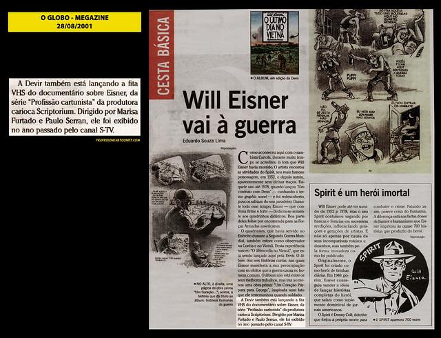 """""""Will Eisner vai à guerra"""" - O Globo - 28/08/2001"""
