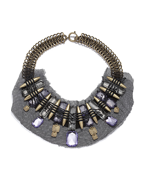 Mesh Lace Jeweled Necklace  rachelroy
