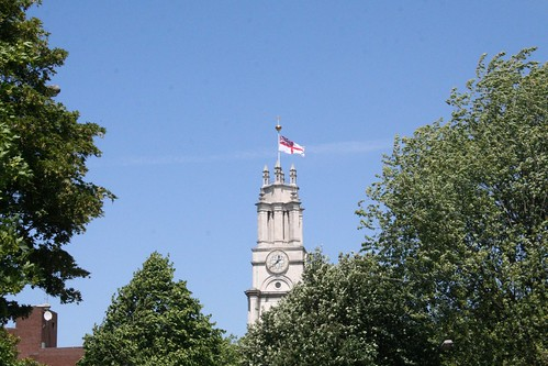 The White Ensign flying from the tower