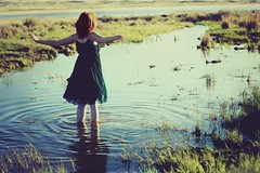 (-Fearless-) Tags: blue light sunset red portrait lake selfportrait west water girl grass sunshine self hair gold golden spring flooding dress flood hour plains goldenhour waterplants sheer runoff