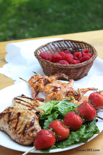 Day 169 - Grilled Shrimp, Chicken and Strawberries