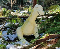 Little Green Dinosaur in Greenwood Park (walneylad) Tags: dinosaur papermâché papermache sculpture greenwoodpark northvancouver britishcolumbia canada woods woodland forest urbanforest trail trees ferns sun snow february winter fun funny humor humour surprise camouflage green brown white