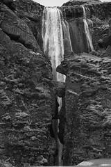 Gljúfrabúi the peek-a-boo waterfall (lunaryuna) Tags: iceland southiceland waterfall gljúfrabúi hiddengem canyondweller rockface canyon river landscape blackwhite bw monochrome lunaryuna