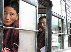 bhutanese double portrait (nadiaknorpp (on holidays happy New Year)) Tags: woman bus men travelling portraits bhutan passengers riding bhutanese