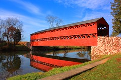 Sachs Bridge-Gettysburg, PA. (1Jimbo1) Tags: bridge red reflection pennsylvania gettysburg civilwar coveredbridge sachs sachsbridge anawesomeshot cwpt10bf