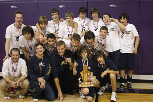 Our Junior Boys Volleyball team poses with their NorWOSSA Gold Medals.