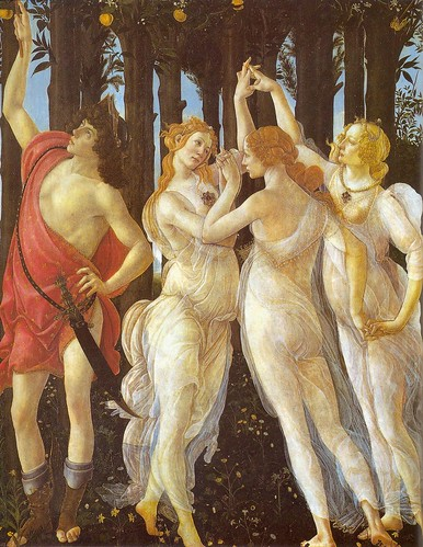 Botticelli: Primavera, detail left Mercury and right the three Graces