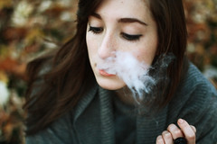 (b r e e) Tags: portrait fall leaves bokeh cigarette smoke nathalie