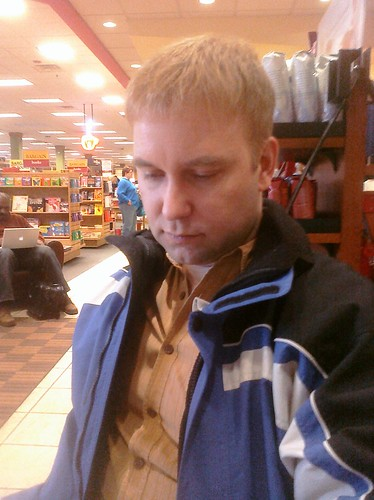 Ptw Friend Chris at borders. We is using free wi-fi