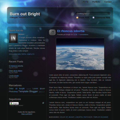 burn out bright tema para blogger