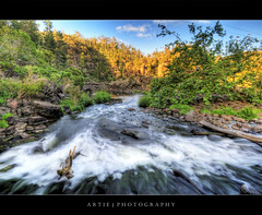 Cataract Gorge, Launceston, Tasmania (II) :: HDR (Artie | Photography :: I'm a lazy boy :)) Tags: trees sun reflection nature water rock photoshop canon river lens landscape landscapes sand rocks cs2 branches tripod logs sigma australia wideangle tasmania gorge ripples 1020mm hdr launceston artie cataractgorge 3xp photomatix tonemapping tonemap vegetations 400d rebelxti firstbasin