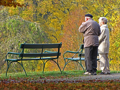 When I'm sixty-four (RainerSchuetz) Tags: park autumn trees bench lyrics beatles oldpeople gettingolder flickrrocks flickrdiamond