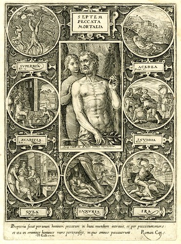 Seven deadly sins adam and eve in central image surrounded by seven