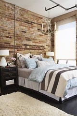 Brick (It's Great To Be Home) Tags: blue brown brick bedroom industrial masculine stripes ristic