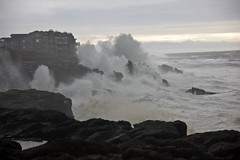 Storm waves hitting central Oregon coast