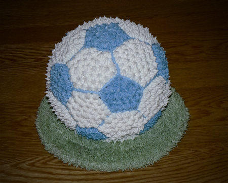 soccer ball cake buttercream baby shower blue