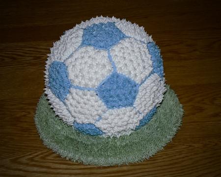 soccer ball cake buttercream baby shower blue
