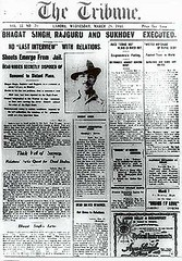 Newspaper Tribune announcing Bhagat Singh's execution. (Tahir Iqbal (13,86,000 Visits, Thank You)) Tags: pakistan 1984 sikh gurdwara punjab kirtan gurudwara sikhism singh khalsa sardar gurus sangat sikhi nankanasahib bhagatsingh sikhhistory partition1984