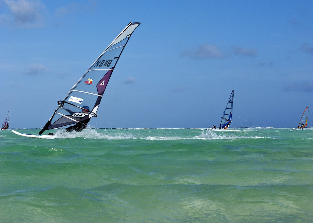 windsurfing on Lac Bay