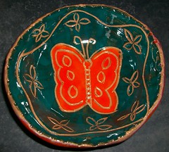 Sgraffito Butterfly Bowl (Chipmunk Hill Arts) Tags: ceramic clay katiewolfe chipmunkhillartscom