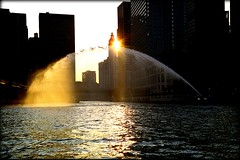 Coming up the Chicago River from Lake Michigan