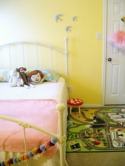 Abby-Sue's Big Girl Bed (KnockKnocking) Tags: pink white cute art ikea mushroom girl yellow wall vintage design diy bed bedroom iron play map interior room cream spot garland retro mat sparrow toadstool sheet chic hook granny decor pillowcase tutu pettiskirt bedding pompom wrought shabby thrifted sockmoneky ohdeedoh
