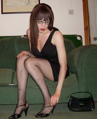 Little Black Dress (Starrynowhere) Tags: black dress little emma tights tgirl transvestite pantyhose crossdresser lbd starrynowhere