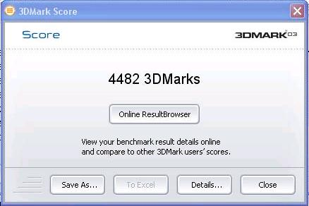 ASUS Eee PC 1201PN 3DMark03 Benchmark Results